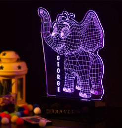 3d baby elephant night light room2