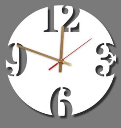 modern round numeral acrylic wall clock white gold clockhands