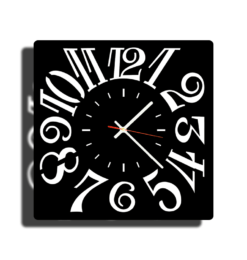 modern square numeral black clock shadow