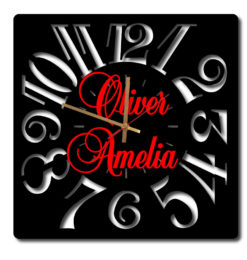 personalised Modern Square Numeral Acrylic Wall Clock black gold clockhands red names