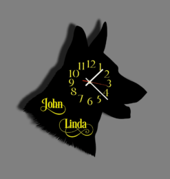 personalised german shepherd wall clock black yellow 2 names wall shadow