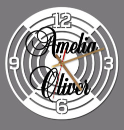 personalised lines and numbers wall clock white clockface gold clockhands black names bedroom00jpg