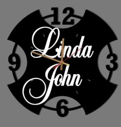 personalised modern numeral acrylic wall clock black gold clockhands white names