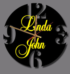 personalised modern round numeral acrylic wall clock black gold handclocks yellow names
