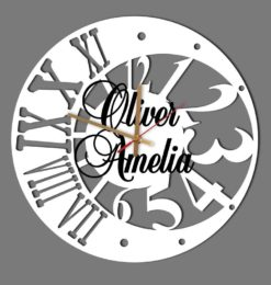 personalised moon numeral acrylic wall clock white gold hands black names