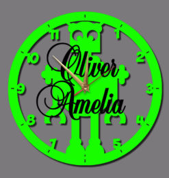 personalised robot clock for kids wall clock green gold clock hands black names