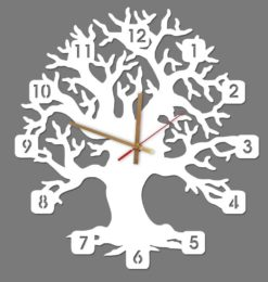 tree acrylic wall clock white gold clockhands