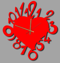 love heart acrylic wall clock red gold clockhands