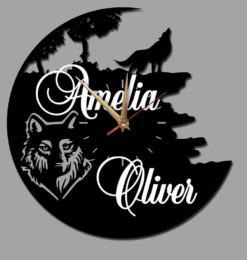 personalised wolf acrylic wall clock black gold clockhands white names