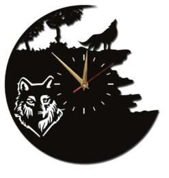 wolf acrylic wall clock black gold clockhands